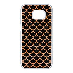 Scales1 Black Marble & Orange Watercolor (r) Samsung Galaxy S7 Edge White Seamless Case by trendistuff