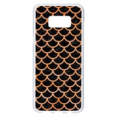Scales1 Black Marble & Orange Watercolor (r) Samsung Galaxy S8 Plus White Seamless Case by trendistuff