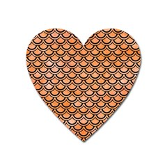 Scales2 Black Marble & Orange Watercolor Heart Magnet by trendistuff