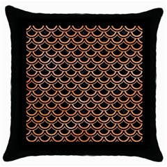 Scales2 Black Marble & Orange Watercolor (r) Throw Pillow Case (black) by trendistuff