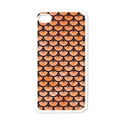 Scales3 Black Marble & Orange Watercolor Apple Iphone 4 Case (white) by trendistuff