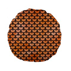 Scales3 Black Marble & Orange Watercolor Standard 15  Premium Flano Round Cushions by trendistuff