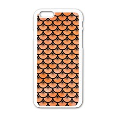 Scales3 Black Marble & Orange Watercolor Apple Iphone 6/6s White Enamel Case by trendistuff