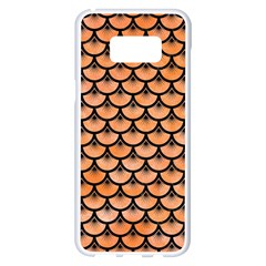 Scales3 Black Marble & Orange Watercolor Samsung Galaxy S8 Plus White Seamless Case by trendistuff