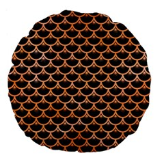 Scales3 Black Marble & Orange Watercolor (r) Large 18  Premium Flano Round Cushions by trendistuff