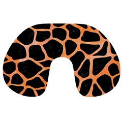 Skin1 Black Marble & Orange Watercolor Travel Neck Pillows by trendistuff