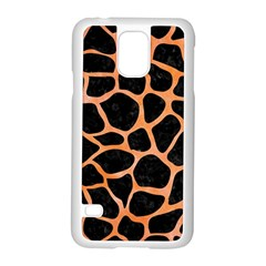 Skin1 Black Marble & Orange Watercolor Samsung Galaxy S5 Case (white) by trendistuff