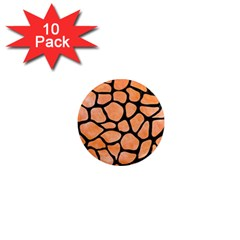 Skin1 Black Marble & Orange Watercolor (r) 1  Mini Magnet (10 Pack)  by trendistuff