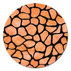Skin1 Black Marble & Orange Watercolor (r) Magnet 5  (round) by trendistuff