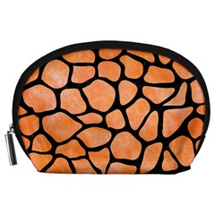 Skin1 Black Marble & Orange Watercolor (r) Accessory Pouches (large)  by trendistuff