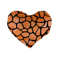 Skin1 Black Marble & Orange Watercolor (r) Standard 16  Premium Flano Heart Shape Cushions by trendistuff