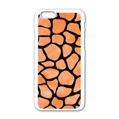 Skin1 Black Marble & Orange Watercolor (r) Apple Iphone 6/6s White Enamel Case by trendistuff