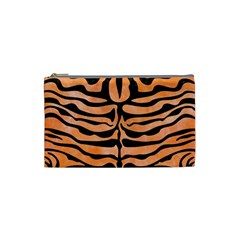 Skin2 Black Marble & Orange Watercolor Cosmetic Bag (small)  by trendistuff