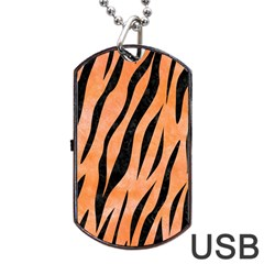 Skin3 Black Marble & Orange Watercolor Dog Tag Usb Flash (one Side) by trendistuff
