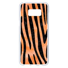 Skin4 Black Marble & Orange Watercolor (r) Samsung Galaxy S8 Plus White Seamless Case by trendistuff