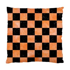 Square1 Black Marble & Orange Watercolor Standard Cushion Case (one Side) by trendistuff