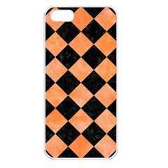 Square2 Black Marble & Orange Watercolor Apple Iphone 5 Seamless Case (white) by trendistuff