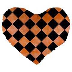 Square2 Black Marble & Orange Watercolor Large 19  Premium Heart Shape Cushions by trendistuff