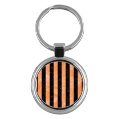 Stripes1 Black Marble & Orange Watercolor Key Chains (round)  by trendistuff
