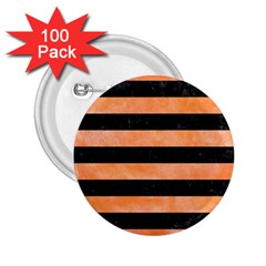 Stripes2 Black Marble & Orange Watercolor 2 25  Buttons (100 Pack)  by trendistuff