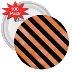 Stripes3 Black Marble & Orange Watercolor 3  Buttons (100 Pack)  by trendistuff