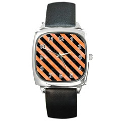Stripes3 Black Marble & Orange Watercolor Square Metal Watch