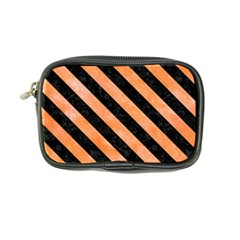 Stripes3 Black Marble & Orange Watercolor Coin Purse by trendistuff