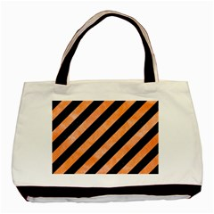 Stripes3 Black Marble & Orange Watercolor (r) Basic Tote Bag (two Sides) by trendistuff