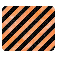Stripes3 Black Marble & Orange Watercolor (r) Double Sided Flano Blanket (small)  by trendistuff