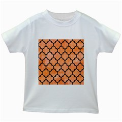 Tile1 Black Marble & Orange Watercolor Kids White T Shirts by trendistuff