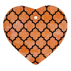 Tile1 Black Marble & Orange Watercolor Heart Ornament (two Sides) by trendistuff