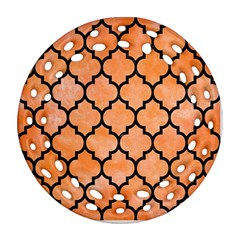 Tile1 Black Marble & Orange Watercolor Ornament (round Filigree) by trendistuff
