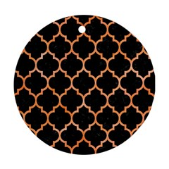 Tile1 Black Marble & Orange Watercolor (r) Round Ornament (two Sides) by trendistuff