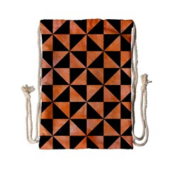 Triangle1 Black Marble & Orange Watercolor Drawstring Bag (small) by trendistuff