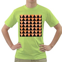 Triangle2 Black Marble & Orange Watercolor Green T Shirt by trendistuff
