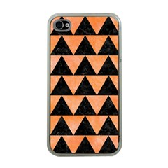 Triangle2 Black Marble & Orange Watercolor Apple Iphone 4 Case (clear) by trendistuff