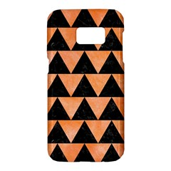 Triangle2 Black Marble & Orange Watercolor Samsung Galaxy S7 Hardshell Case  by trendistuff