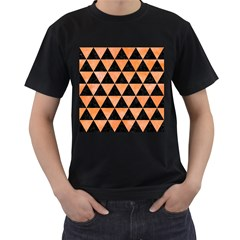 Triangle3 Black Marble & Orange Watercolor Men s T Shirt (black) (two Sided)