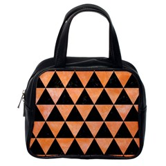 Triangle3 Black Marble & Orange Watercolor Classic Handbags (one Side) by trendistuff
