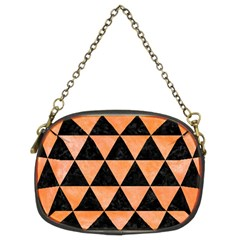 Triangle3 Black Marble & Orange Watercolor Chain Purses (two Sides)  by trendistuff