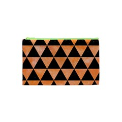 Triangle3 Black Marble & Orange Watercolor Cosmetic Bag (xs) by trendistuff