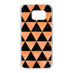 Triangle3 Black Marble & Orange Watercolor Samsung Galaxy S7 White Seamless Case by trendistuff