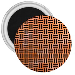 Woven1 Black Marble & Orange Watercolor 3  Magnets by trendistuff