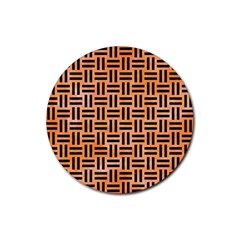 Woven1 Black Marble & Orange Watercolor Rubber Round Coaster (4 Pack)  by trendistuff