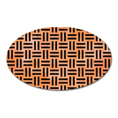 Woven1 Black Marble & Orange Watercolor Oval Magnet by trendistuff