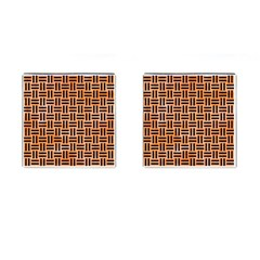Woven1 Black Marble & Orange Watercolor Cufflinks (square) by trendistuff