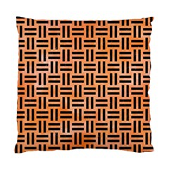 Woven1 Black Marble & Orange Watercolor Standard Cushion Case (one Side) by trendistuff