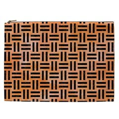 Woven1 Black Marble & Orange Watercolor Cosmetic Bag (xxl)  by trendistuff