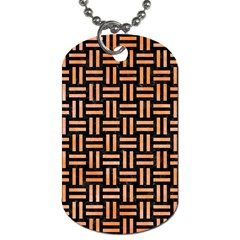 Woven1 Black Marble & Orange Watercolor (r) Dog Tag (two Sides) by trendistuff