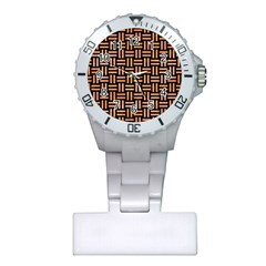 Woven1 Black Marble & Orange Watercolor (r) Plastic Nurses Watch by trendistuff